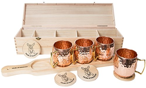 Mule of Moscow Copper Mug Gift Set Includes 4 Coasters and 4x 18oz Mugs, Wood Tray and Wooden Box Kit. Great Gifts for Men and Women