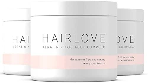 Hair Love: Hair Growth Supplement - Keratin & Collagen Complex- 30 Day Supply - Nourishes and Strengthens Weak Hair, Restores Length and Shine, All Natural Dietary Supplement