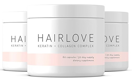 Hair Growth Supplement - Hair Love - Keratin & Collagen Complex- 30 Day Supply - Nourishes and Strengthens Weak Hair, Restores Length and Shine, All Natural Dietary Supplement