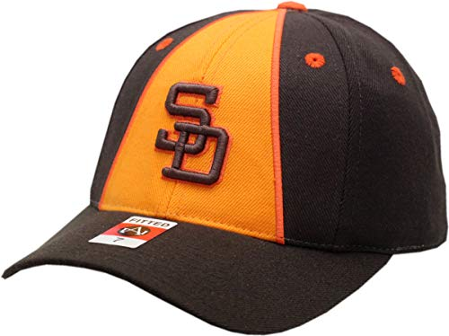 Brown Padres Hat - San Diego Padres Fitted Hat Curved Brim (7) Brown/Orange