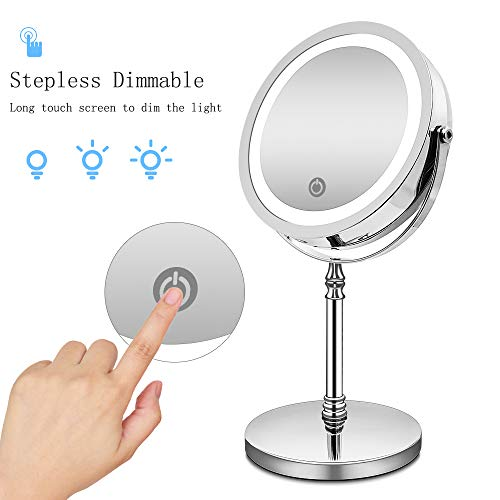 Makeup Vanity Mirror with 18 LED Lights, 1X /10X Magnifying Led Makeup Mirror with Touch Screen,Dual Power Supply,360° Adjustable Rotation,Countertop Cosmetic Mirror