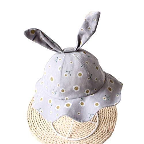 Toddler Kids Sun Hat Wavy Wide Brim Cute Long Rabbit Ears Floral Sunshade Beach UV Protection Cap with Chin Strap Light Purple ()