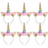 Toyvian Gold Horn Unicorn Headbands Flowers Headwear for Kids Birthday Unicorn Party Decorations,Pack of 6