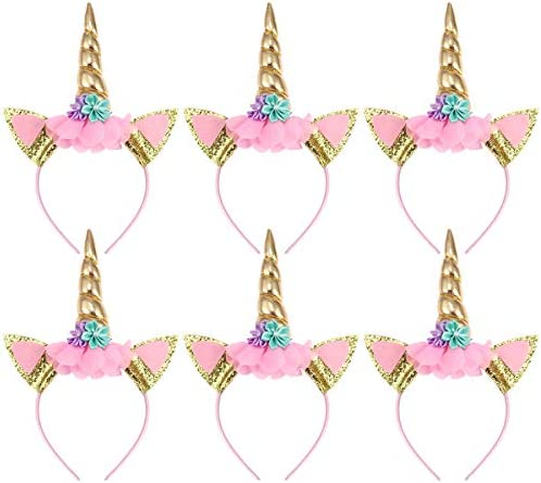 6 Stück Haarreif Einhorn Einhorn Stirnband Gold Horn Haarreif Haarband Kopfschmuck Blumenmädchen Haarschmuck für Geburtstag Geschenk Karneval Hochzeit Party Dekoration