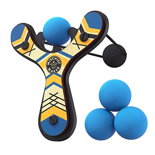 Mighty Fun! Mischief Maker Wooden Toy Slingshot Real Wood and Soft Foam Balls (Blue Classic)