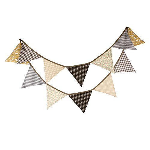 - Light Tan Brown Vintage Floral Bunting Fabric Banner Shabby Chic Triangle Pennant Garland Wedding Birthday Party Decoration