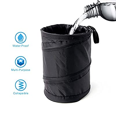 Binboll Car Trash Can Collapsible Leak Proof Trash Can Car Portable Garbage Bag (Black): Automotive