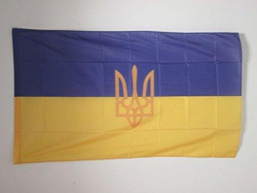 AZ FLAG Ukraine Coat of arms Flag 2' x 3' for a Pole - Ukrainian Flags 60 x 90 cm - Banner 2x3 ft with Hole