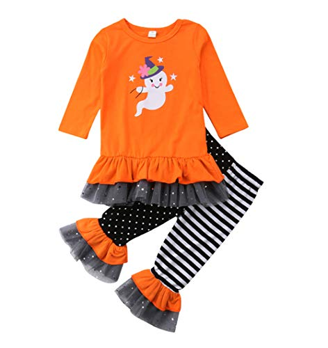 Haloween Baby Girls Ghost Outfit Long Sleeve Ruffle Lace Shirts Tops Bell Bottom Pants Clothes Set (4-5T, -
