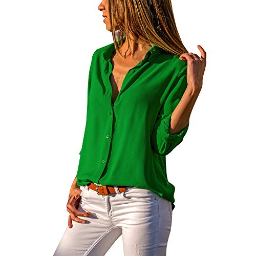 Aniywn Women Casual Chiffon Long Sleeve Shirt Tops Stand Collar Office Lady Formal Loose Blouse Green