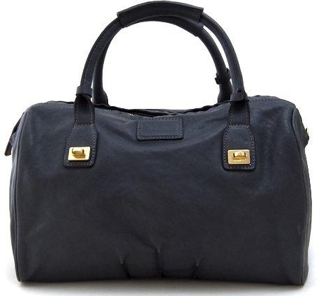 Lush Leather Lambskin Double Turnlock Pinktuck Dark Gray Duffle Tote Bag - Lambskin Leather Tote Bag