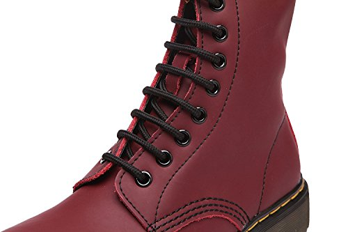 Modemoven Damen Runde Toe Lase-up Stiefeletten Damen Leder Kampfstiefel Fashion Martens Stiefel Cherry Red Fell gefüttert