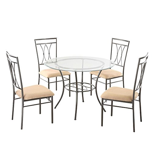 (5 Piece Compact Round Dining Set Solid tubing Round Indoor Upholstered Seat Cushions Contemporary Elegant Cute Comfortable Durable Awesome Microfiber Upholstery Glass and Metal)