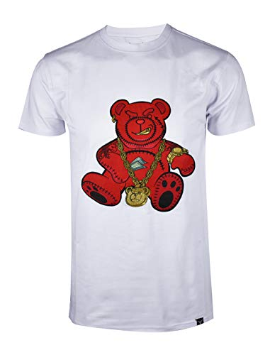 SCREENSHOTBRAND-S11910 Mens Hip-Hop Ultra Premium Tee Goldchain Teddy Bear Cartoon Print T-Shirt-White-Medium