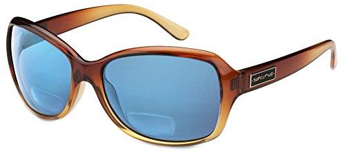 Suncloud Mosaic Polarized Bi-Focal Reading Sunglasses in Brown Fade & Blue Mirror Lens +2.00