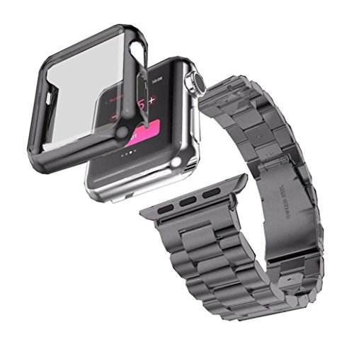 Mens Stainless Steel Series Watch - Watchband+Cover Case, Ankola Stainless Steel Bracelet Strap + Cover Case for Apple Watch Series 1 38mm/42mm (42mm, Black)
