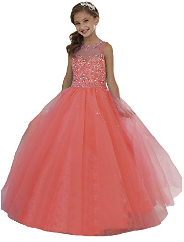 Wenli Girls' Sheer Neck Beaded Rhinestones Pageant Dresses 12 US Coral
