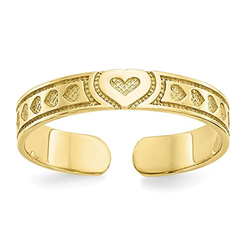 - 10K Yellow Gold Toe Jewelry Rings Solid 3 mm Heart Toe Ring