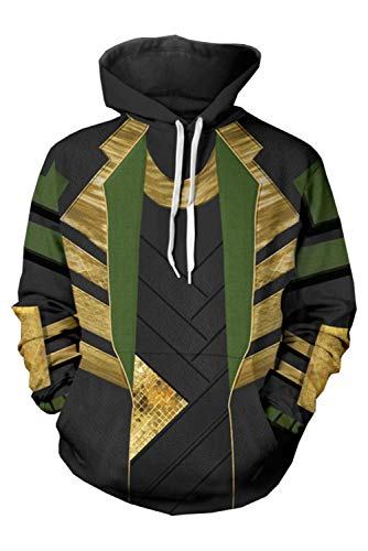 Yancos Adult Loki Hoodie Mens Superhero Pullover Sweatershirt Halloween Cosplay Costume ()