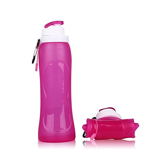 Collapsible Silicone Water Bottle Ourdoor Sport Travel Originality Novelty Portable Folding Water Bottle(17 Ounce) (Rose Red)