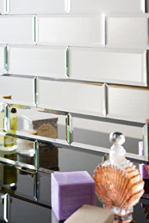 MY Furniture Silver Mirrored Mirror Bevelled Wall Tiles   Brick Sized    Ideal For Bathroom