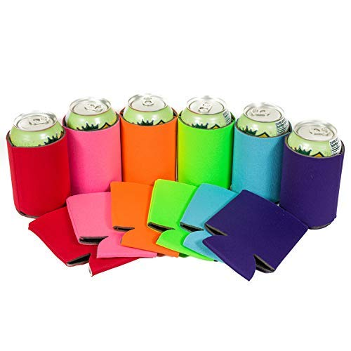 QualityPerfection 6 Multi Party Drink Blank Can Coolers(12,25,50,100,200 Bulk Pack) Blank Beer,Soda Coolies Sleeves | Soft,Insulated Coolers | 30 Colors | Perfect For DIY Projects,Holidays,Events