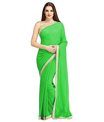 Beaded Sari - RADANYA Indian Women's Ethnic Saree Beaded Border Plain Georgette Wrap Party Wear Sari
