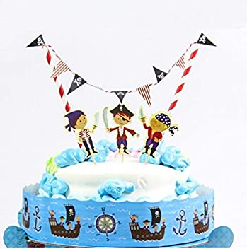 1 Pcs Pirate Birthday Cake Topper Party Decorations Kids