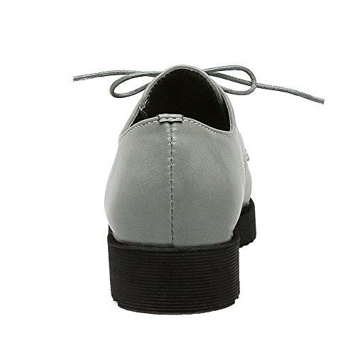 AgooLar Damen PU Schließen Zehe Niedriger Absatz Schnüren Pumps Schuhe Grau