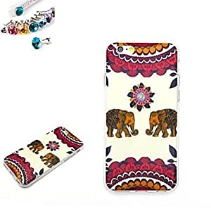 Two Elephants Pattern TPU Back Cover Case With The Dustproof Plug for iPhone 6