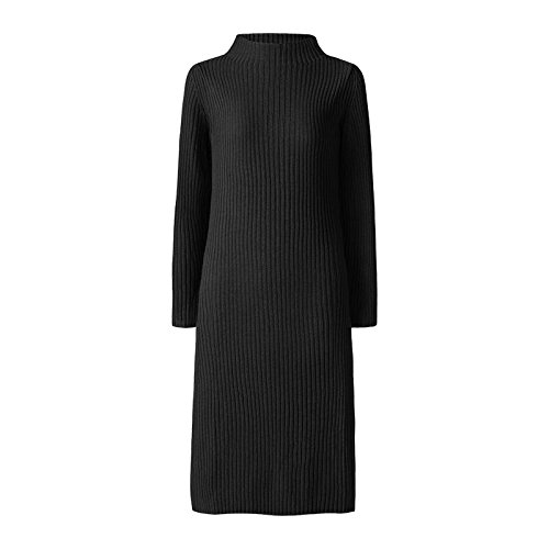 XIU*RONG Un Vestido Tejido Manga Larga Y Falda Falda Vestidos De Lana En Respaldo Femenino black