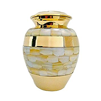 Custom Mother of Pearl Small Size urn for Humans and Pets- 6 Tall urn with Personalisation