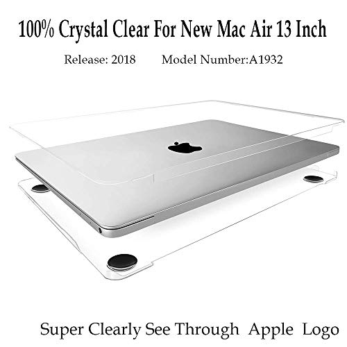 TWINSCASE 2018 New MacBook Air 13 Inch Case Clear A1932,Glossy Transparent Clear Covers,Ultra Thin Rubberized Feet MacBook Case Shell Cover for New MacBook Air 13 (Macbook Air Case Glossy)