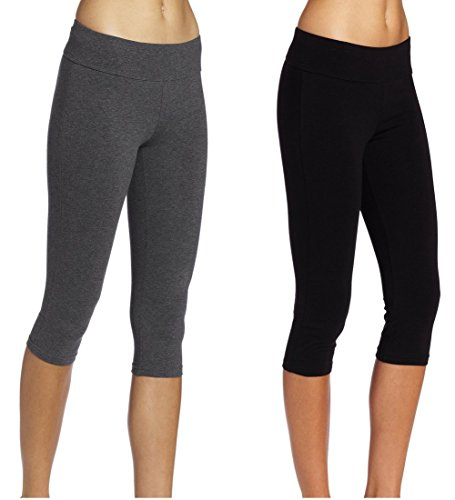 Lataly Women's Activewear Capri Yogapants Legging Workout Gym Tight Yoga Pants Color Black Grey Pack of 2 Size XL