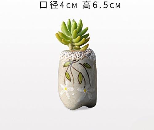 YQOOO - Maceta de flores con diseño de flores, pintada a mano con ...