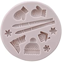 Iumer Ski Equipment Gloves Hats Cake Mold Cookie Jelly Candy Ice Silicone Mold Baking Supplies,Gray,as description