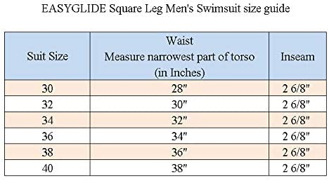 Easyglide Square Leg Suit Mens Comfortable Swimsuit for Polyester PBT Fabric
