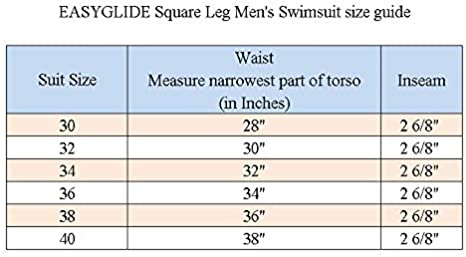 3asyglide Square Leg Suit Mens Comfortable Swimsuit for Polyester PBT Fabric
