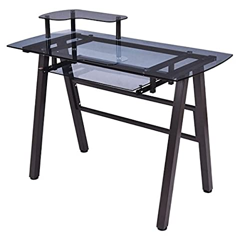 Tempered Glass Computer Laptop Notebook PC Workstation Desk With Sliding Out Keyboard Tray Printer Shelf Home Office Free Standing Furniture Spacious Work Station Powder Coated Steel Frame