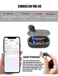 ? Versión actualizada? Auriculares inalámbricos Bluetooth 5.0 con LCD Verdaderos auriculares inalámbricos Bluetooth Auriculares impermeables con micrófono, 18H Playtime Auriculares inalámbricos con estuche de carga para iPhone Android