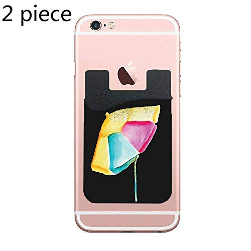 Cellcardphone Cardly (Two) Cell Phone Stick on Wallet Card Holder Phone Pocket for iPhone, Android and All Smartphones (Beach Brella)