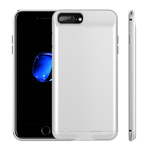 ANIKOV-04 For iPhone 7plus/6plus/6S plus Battery Case, Aluminium alloy edge Portable Charging Case for iPhone 7+/6+/6s+ with 5200mAh Capacity/External Pack Charger Case 5.5inch (Silver)