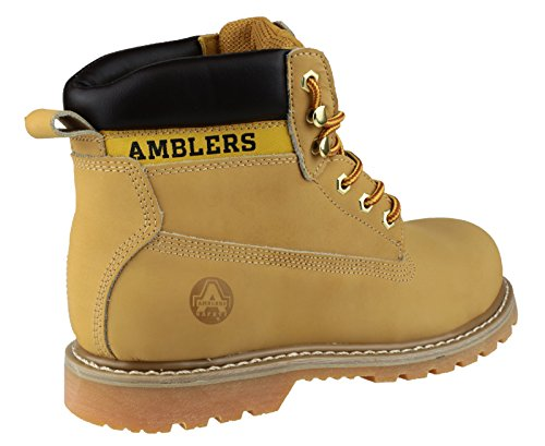 Amblers Steel Lace-Up Textile Lined Mens Boots - Honey - Size 13