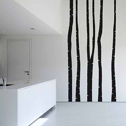 Brich Tree Wall Stickers - 5 Wall Decal Trees - Wall Decal Brich Set | wall tattoo wall tattoos wall stickers | Color: Brown; Dimensions: 78.7 x 29.5 inches (Brich Trees)