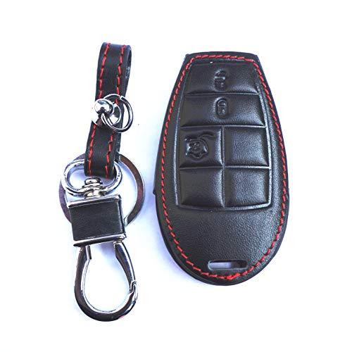 New Black Genuine Leather Remote Smart Key Chain Holder Cover Case Fob For Dodge Challenger Charger Magnum Durango Grand Caravan Ram 1500 2500 3500 4500 Jeep Commander Grand Cherokee Chrysler 300 (Chrysler Chains Key 2010)
