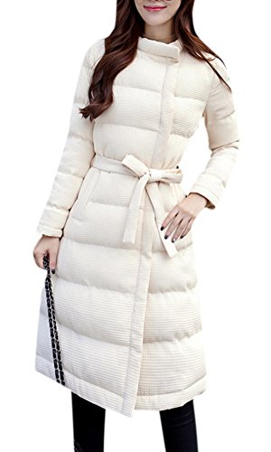 White Lightweight Belted Jacket - Lingswallow Women's Elegant Belted Lightweight Slim Long Puffer Thicken Down Coat Jacket White