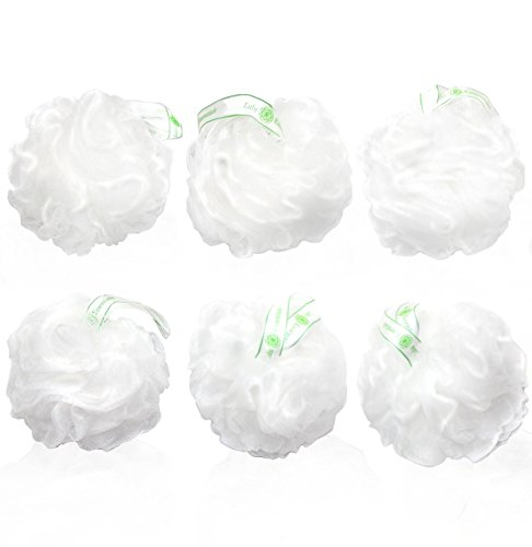 6 Large Luxurious Loofahs Snow White Puffs Shower Sponge