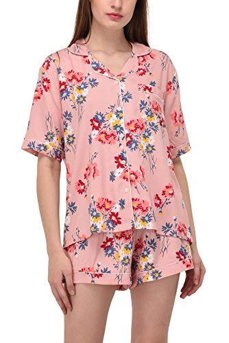 (VDRNY Women's Sleepwear 2 Pc Short Sleeve Pajama Notch Collar Shorts Set/Pajama (Pink Floral, 1X))