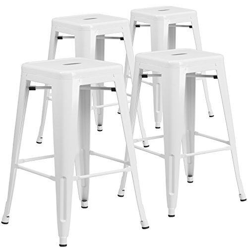 Flash Furniture 4 Pk. 30'' High Backless White Metal Indoor-Outdoor Barstool with Square Seat (White Bar Stools)
