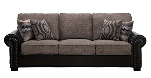 (Homelegance Boykin Dual Fabric Faux Leather/Chenille Sofa with Accent Pillows, Brown )